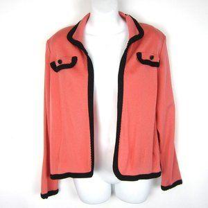 Misook Coral Black Open Front Jacket LP PL